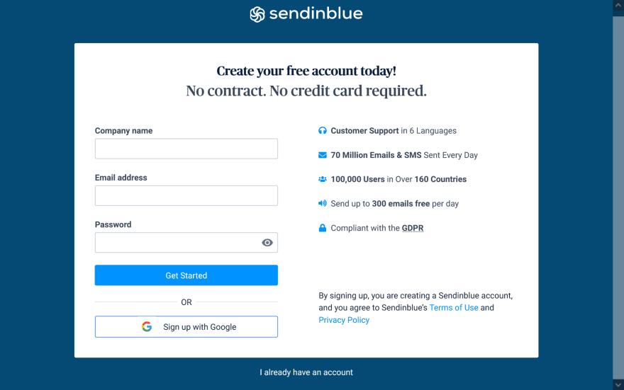Register at Sendinblue.com