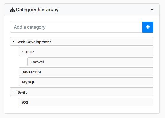 Category tree dash