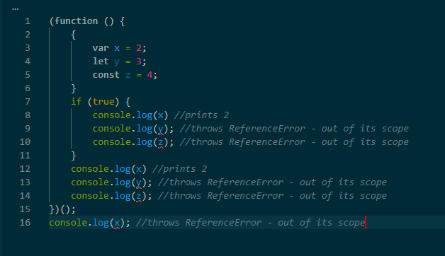 some variables are referenced outside of their scope