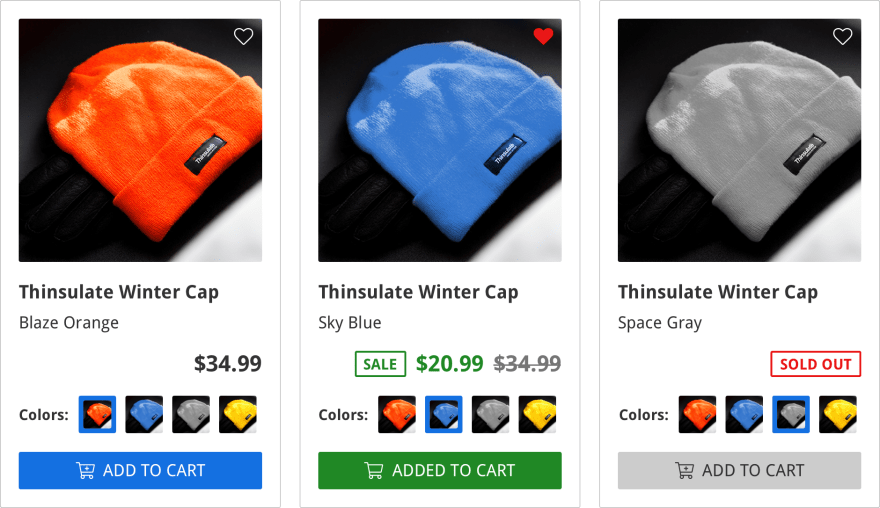 ecommerce listing component with different states of pricing, availability, and product color