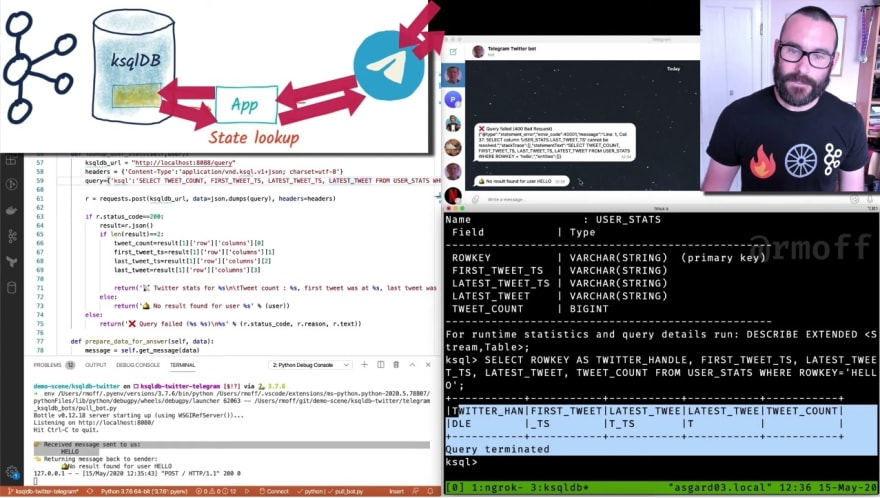Screengrab of Youtube video showing how to build a Telegram bot with Kafka and ksqlDB
