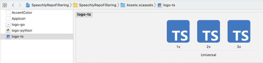 Xcode added imagesets