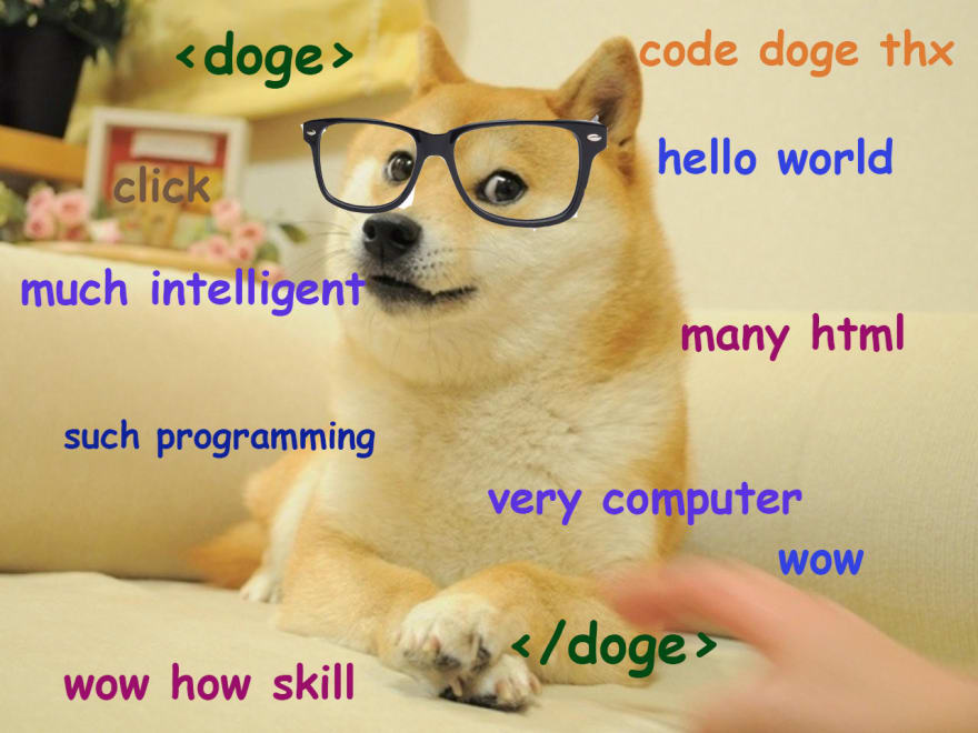 Picture of doge wearing glasses and code words around him