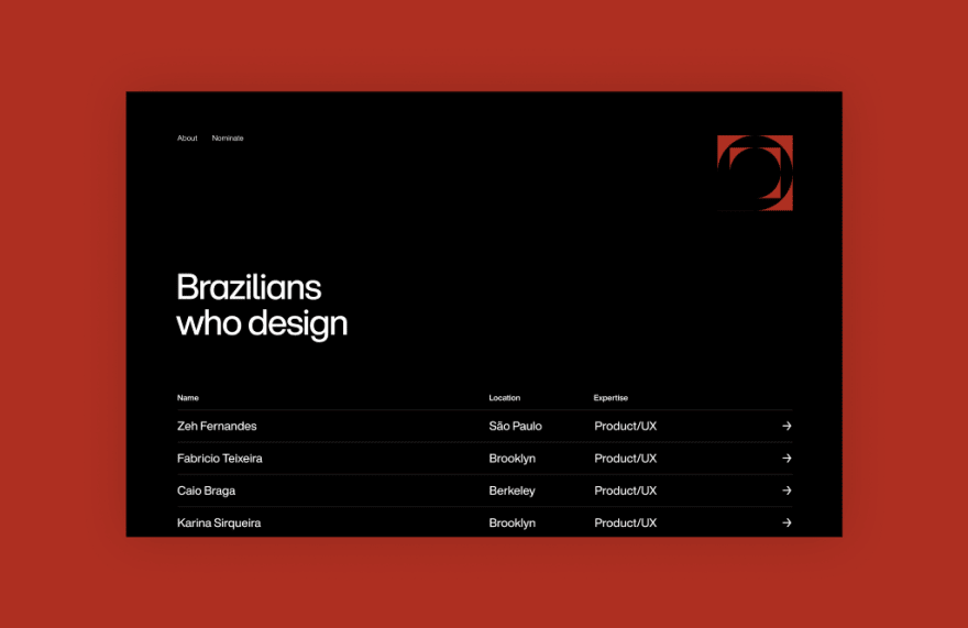Screenshot of the Brazilians Who Design website