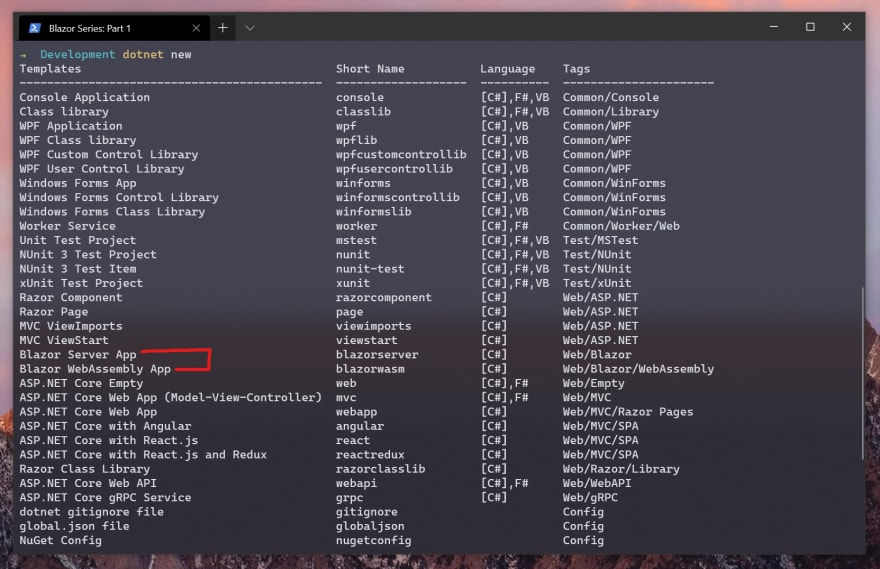 Windows Terminal with a list of .NET 5 project templates
