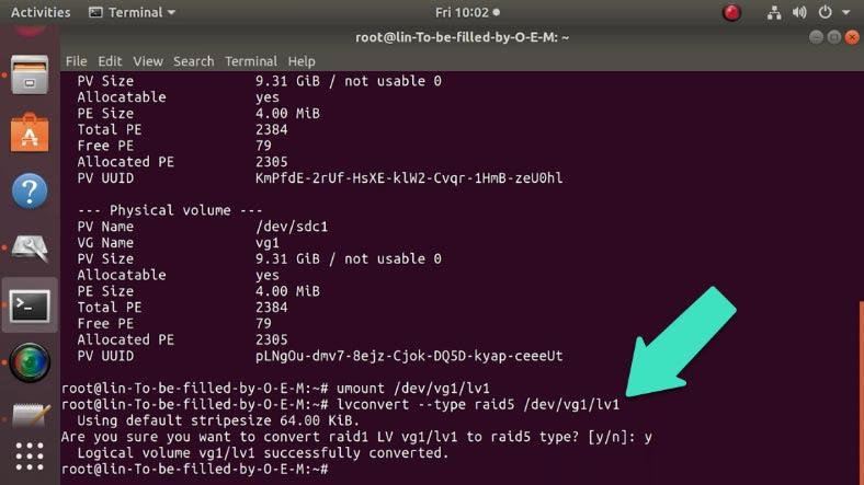 lvconvert --type raid5 /dev/vg1/lv1