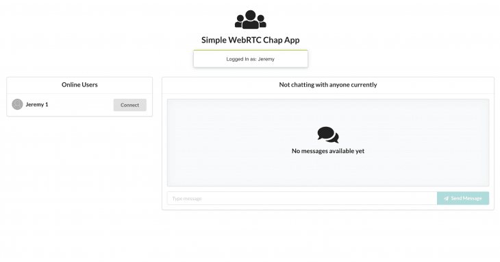 An example of a completed simple WebRTC chat app before being connected to other users.