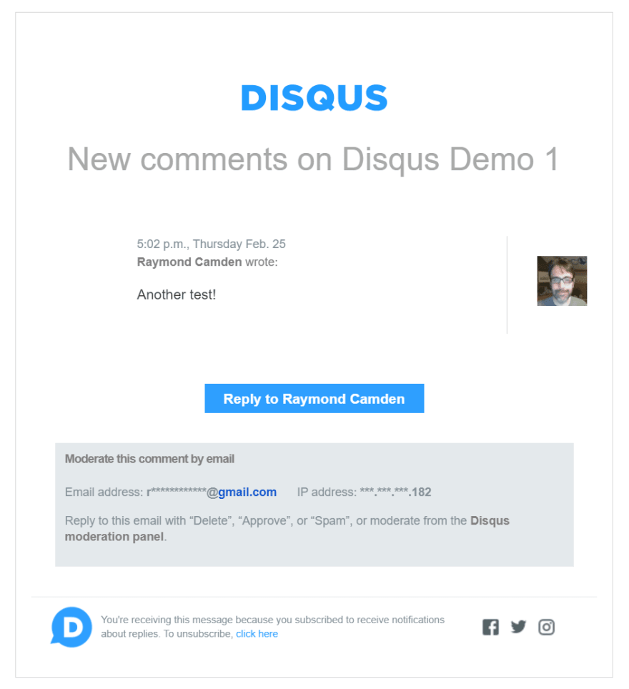 Example of email for new comment