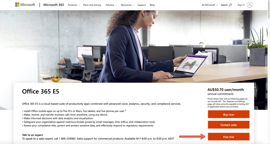 Microsoft 365 E5 Trial Landing Page