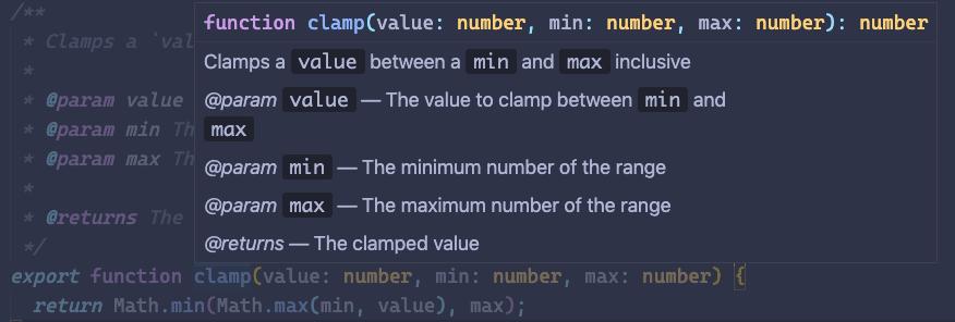 Visual studio code showing JSDoc on popover