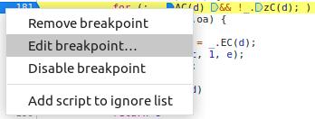 Edit breakpoint
