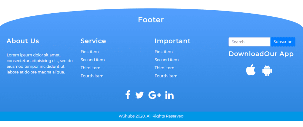 Cover image for Rounded Curved Footer Using Bootstrap 4