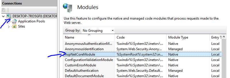 Module list with AspNetCoreModule