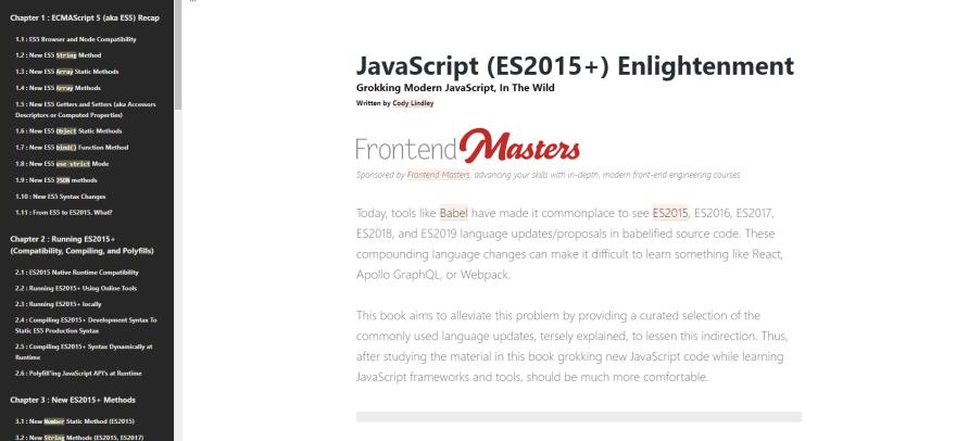 JavaScript (ES2015+) Enlightenment