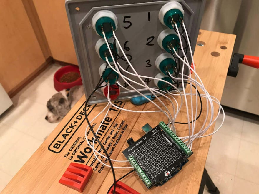Wires attached to Arduino screw shield.