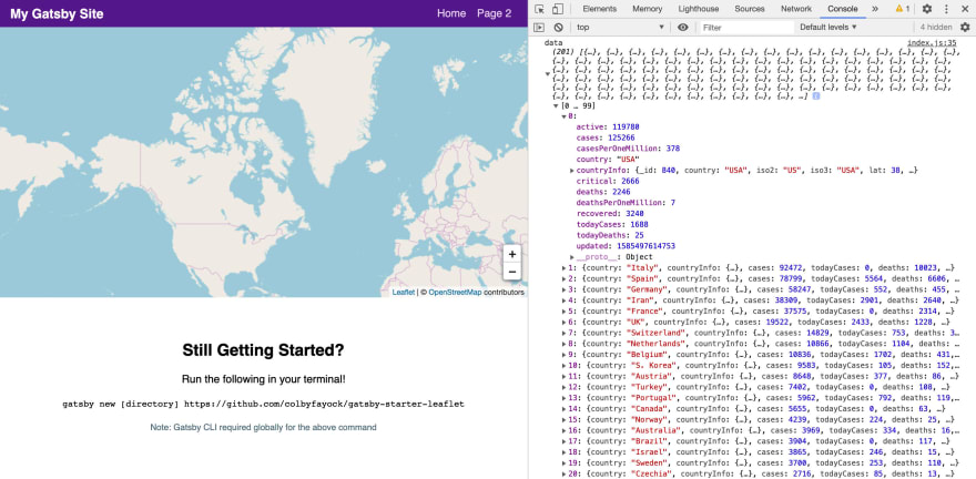 Logging the Coronavirus location data to the browser console