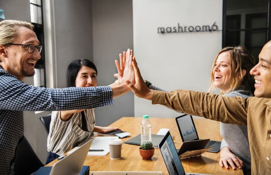 Bad stock photo of people high-fiving