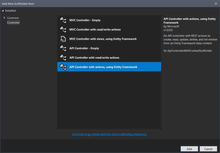 Add New Scaffolded Item dialog with API Controler iwth actions, using Entity Framework selected.