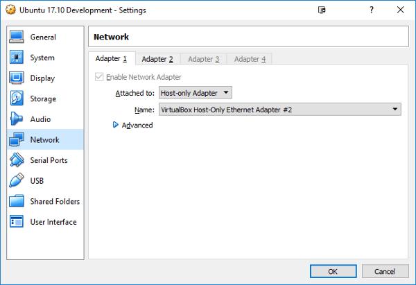 Figure 1: Ubuntu VM network settings