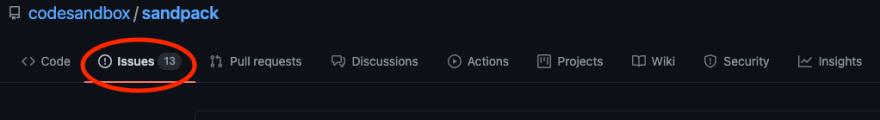 Issues tab on GitHub