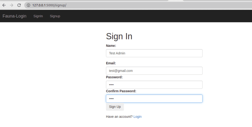Invalid sign up