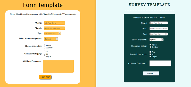 before and after photo of a survey form project