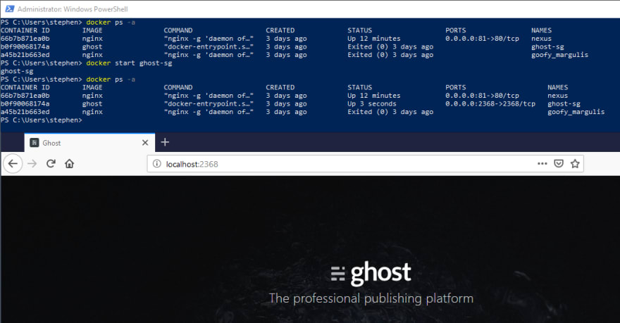 Starting up an image of Ghost blogging software in docker in PowerShell