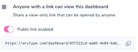 Dashboard Share via Public Link