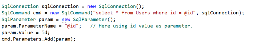 Using a parameterized query.
