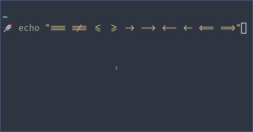 Screenshot of the terminal showing alacritty ligatures