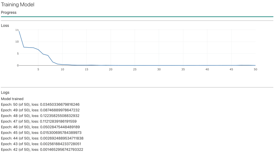 User interface showing training model progress