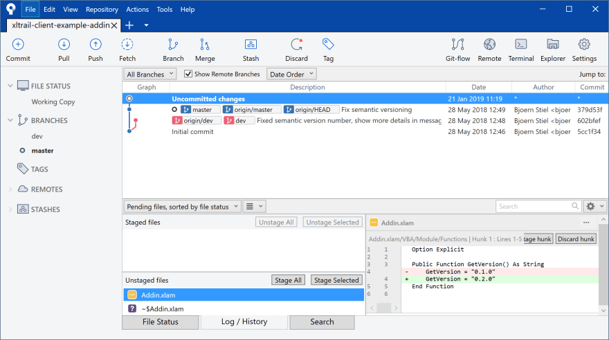 How to diff Excel VBA code in SourceTree (Git client) - DEV