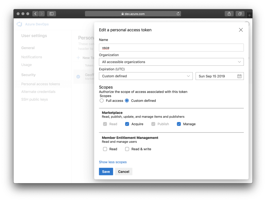 Personal access token settings in Azure DevOps