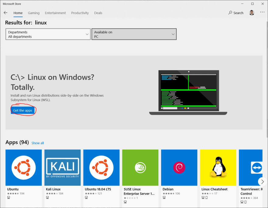 Linux subpage on Windows Store
