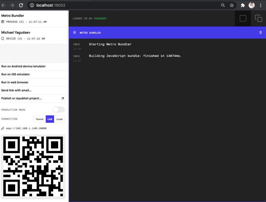 Expo developer tools lets you scan a QR and see device logs in one place