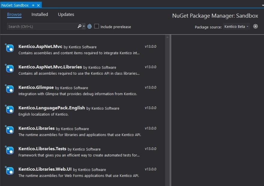 List of Kentico beta NuGet packages in Visual Studio