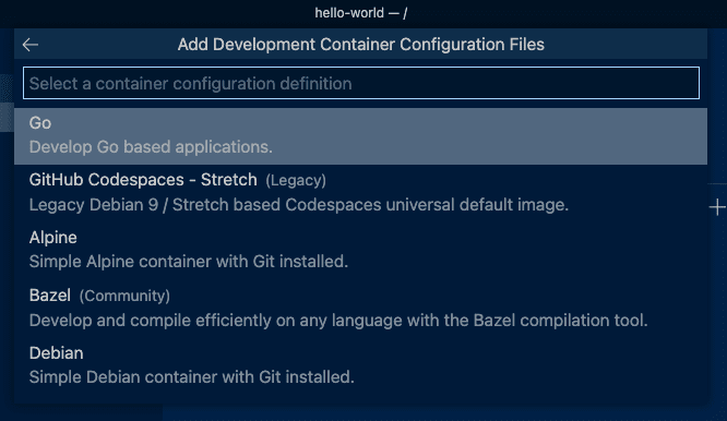 Dev Container Base Options