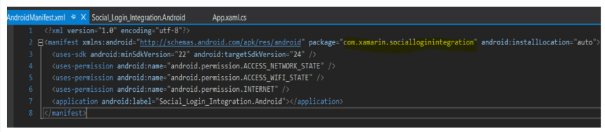 Configuring Android Project Manifest