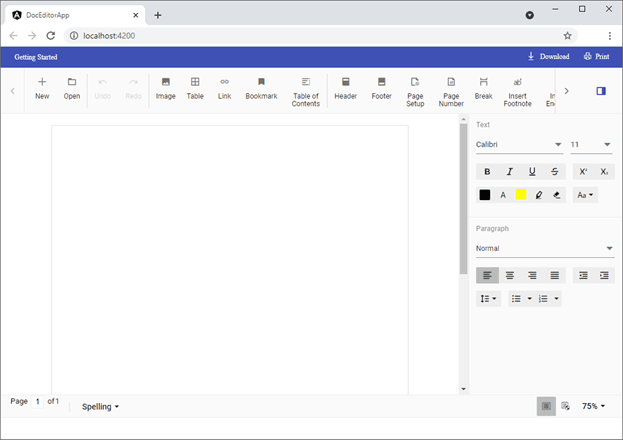 Document Editor Container with Title Bar