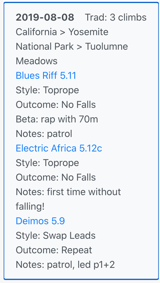 Logbook entry with climbs from unique areas