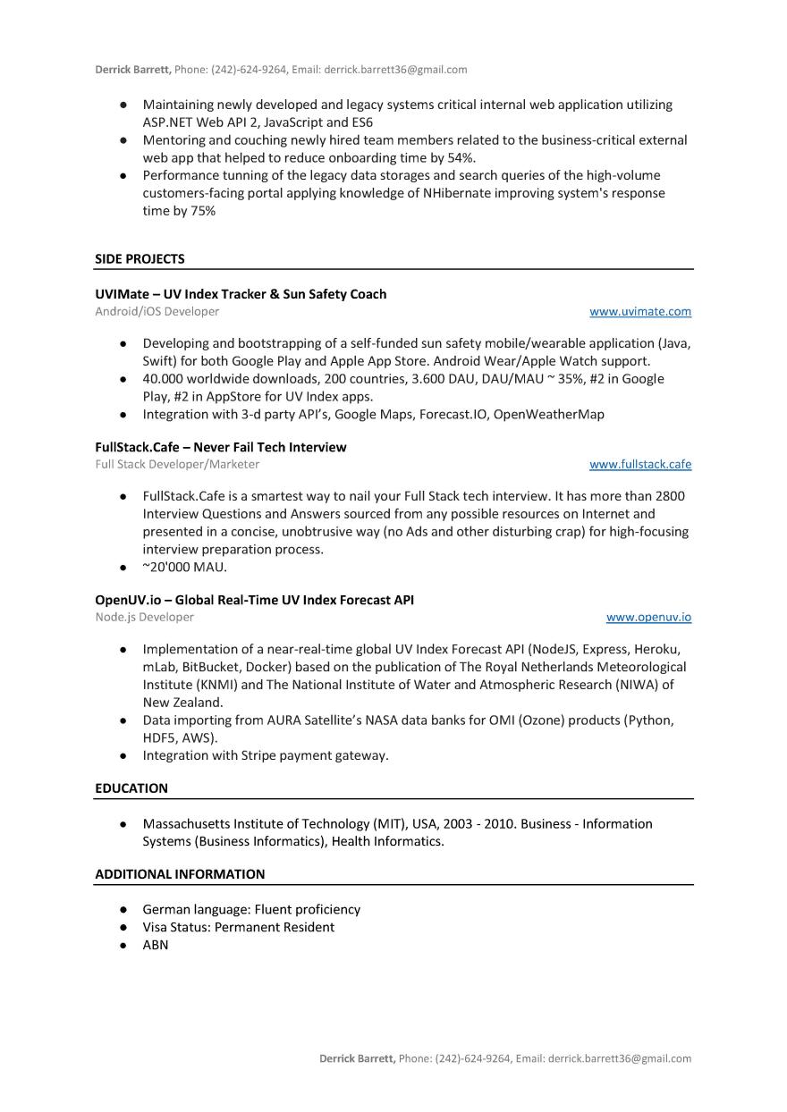 Real .NET Developer Resume Sample To Download