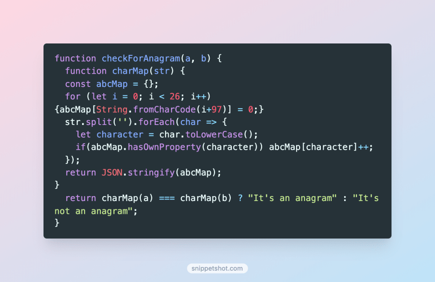 A Snippet Shot from JS code on SnippetShot.com