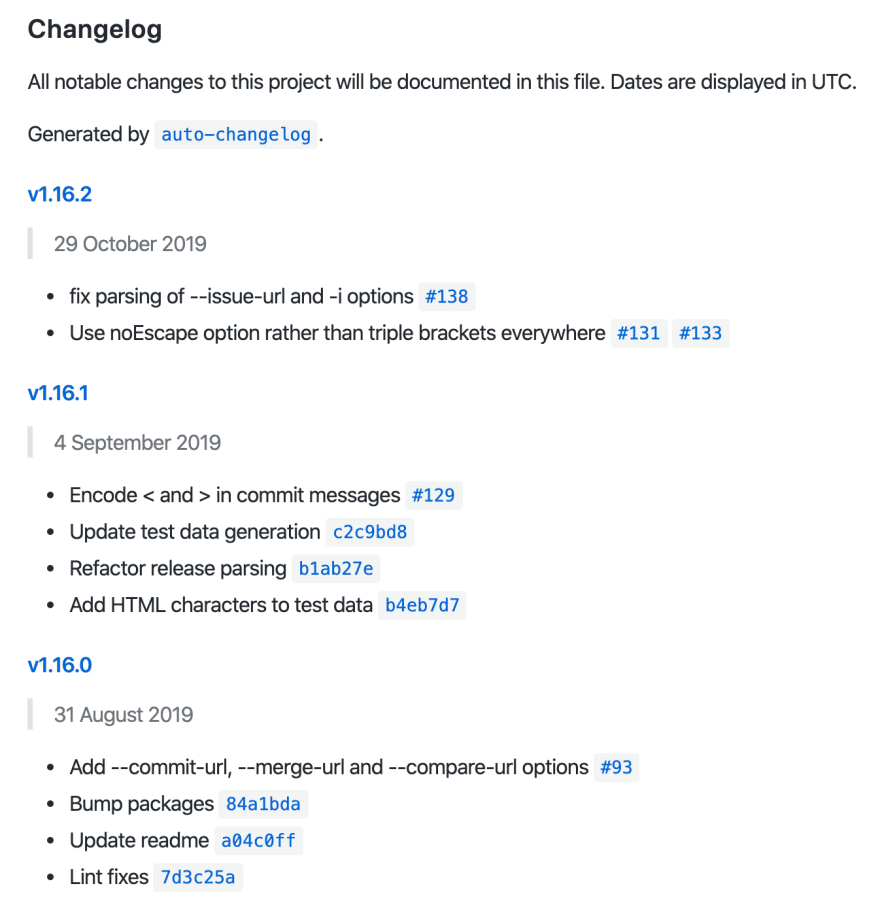 Auto-generated Git changelog