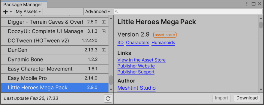 Desired asset seen in Unity's Package Manager