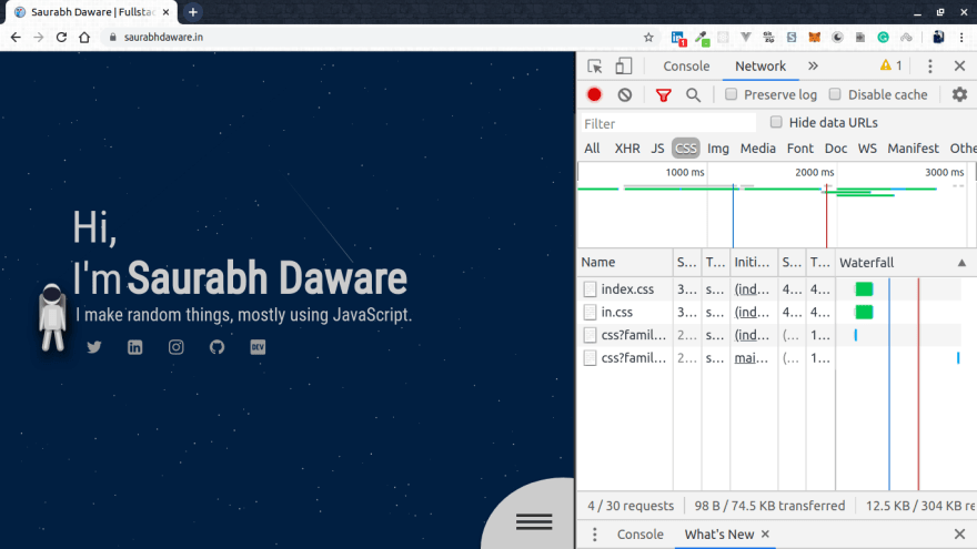 desktop view of saurabhdaware.in with network tab open