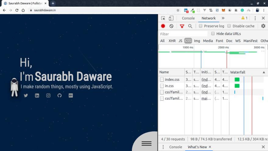 desktop view of saurabhdaware.in with network tab open