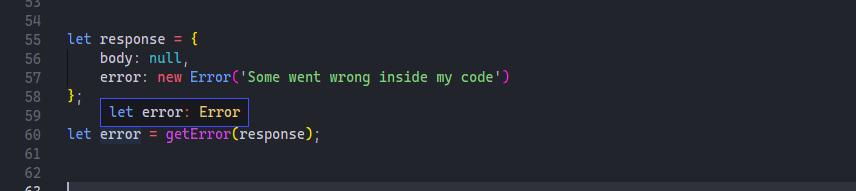 getError example with error screenshot