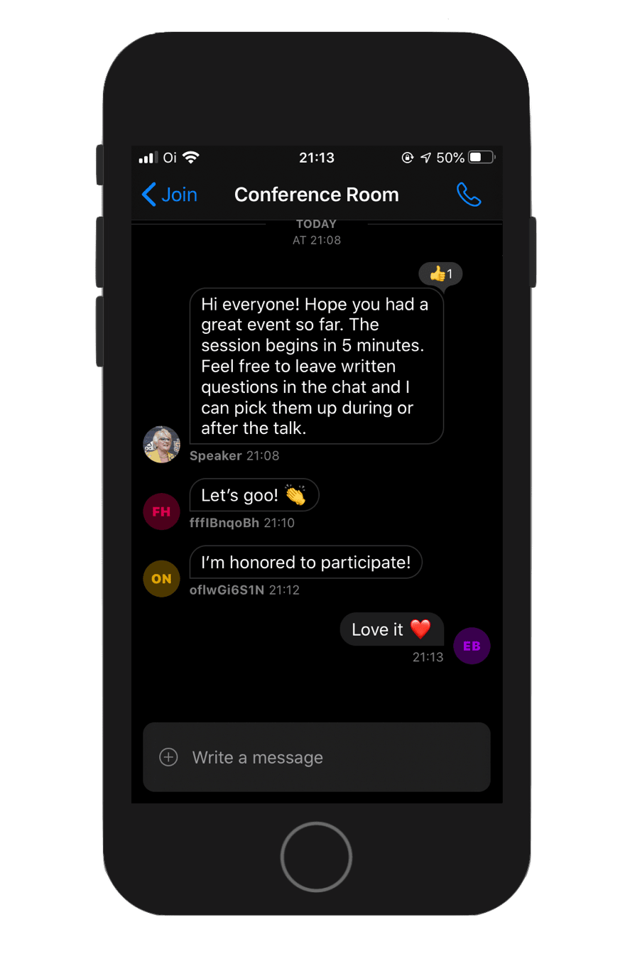 Image shows a screenshot of a conversation in a chat screen with conference attendees and a speaker