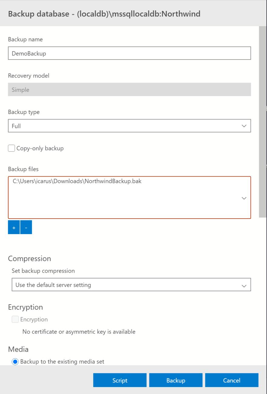 Sql Backup menu option