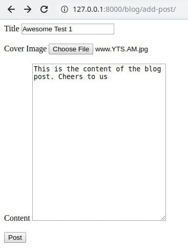 Image showing newly created blog post